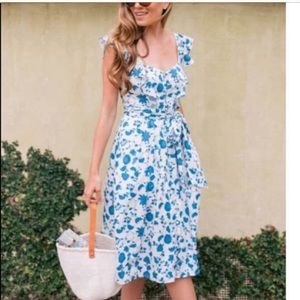 NWT Gal Meets Glam Olivia Blue Floral Dress NEW